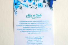 akvarell virágos kémcsöves esküvői meghívó