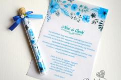virágos kémcsöves esküvői meghívó