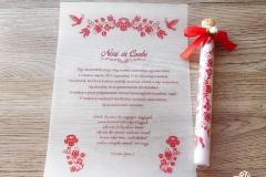 kalocsai kémcsöves esküvői meghívó