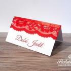 piros csipkés ültetőkártya