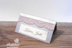 rózsaszín csipkés ültetőkártya