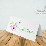 akvarell virágos ültetőkártya