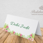 kraft zöld virágos ültetőkártya