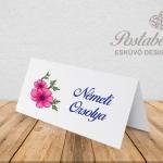 pink virág ültetőkártya