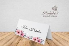akvarell virágos pink ültetőkártya