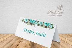 kék virágos ültetőkártya