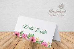 pink-zöld virágos ültetőkártya