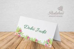 zöld virágos ültetőkártya