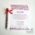 piros kémcsöves esküvői meghívó
