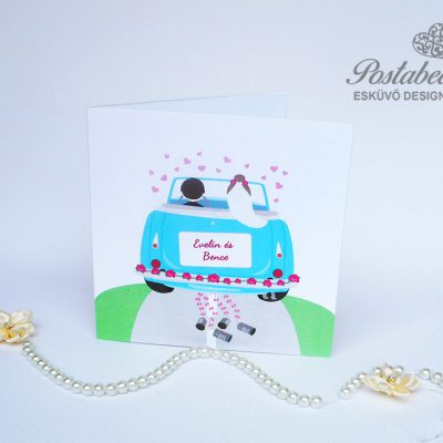 autós pár esküvői meghívó