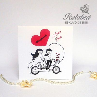 biciklis esküvői meghívó