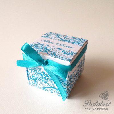 csipkés dobozos meghívó kék