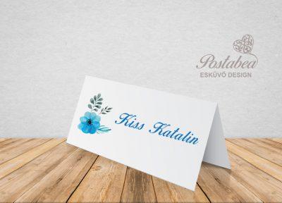kék akvarell ültetőkártya