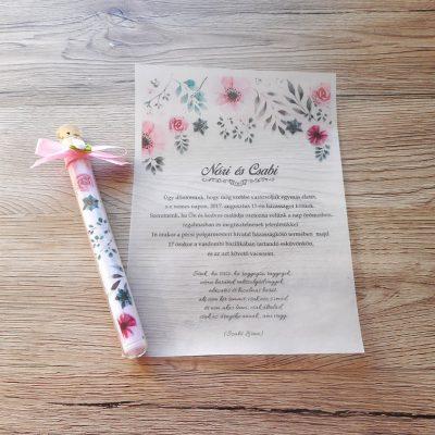 kémcsöves esküvői meghívó virágos