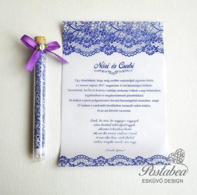 Csipkés kémcsöves esküvői meghívó
