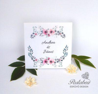 rózsaszín virágos esküvői meghívó