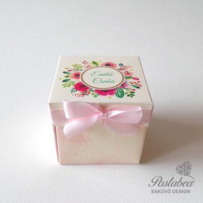 Virágos dobozos meghívó
