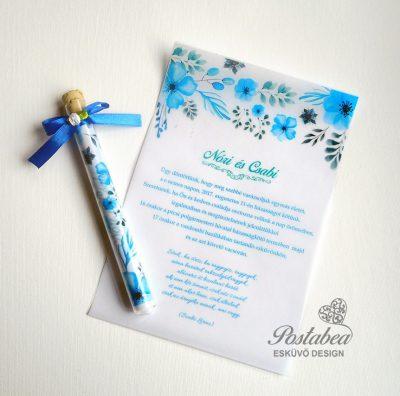 Kék akvarell virágok kémcsöves esküvői meghívó