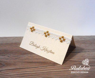 arany strasszos ültetőkártya