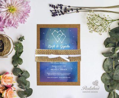 csillagos vintage esküvői meghívó
