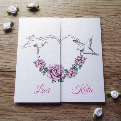 Galambok rózsával esküvői meghívó