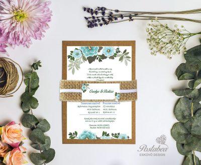 kék virágos rusztikus esküvői meghívó