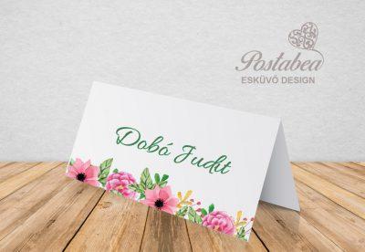 kraft kartonos pink virágos ültetőkártya