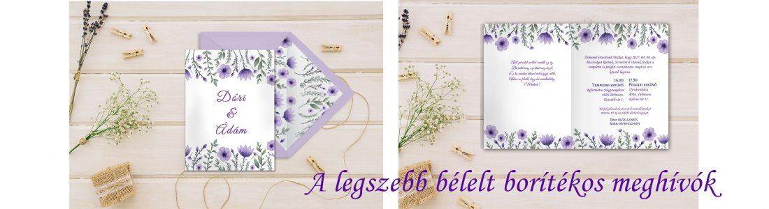 lila bélelt borítékos meghívó