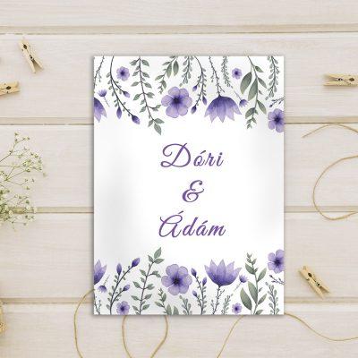 lila virágos esküvői meghívó