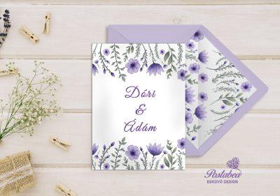 lila virágos meghívó borítékkal