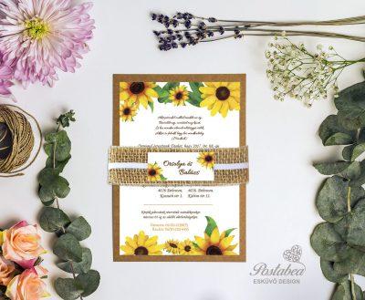 napraforgós rusztikus esküvői meghívó