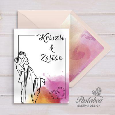 'Szerelmes pár' esküvői meghívó borítékkal