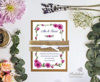 pink virágos rusztikus esküvői meghívó