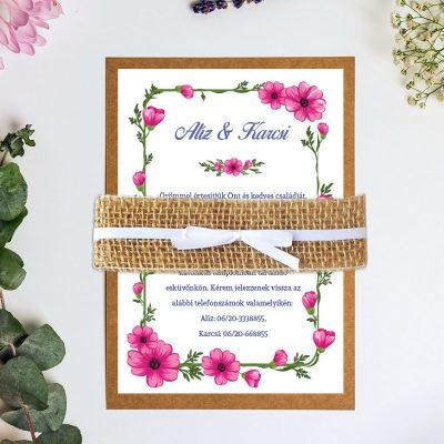 pink virágos vintage meghívó