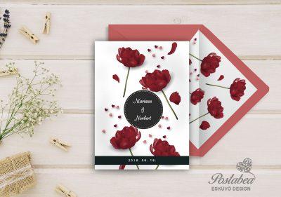 piros virágos esküvői meghívó