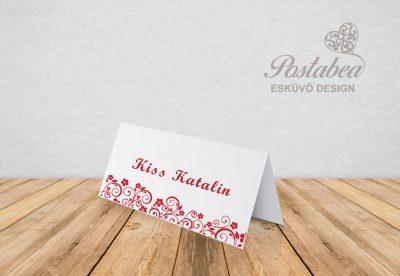 piros virágos ültetőkártya