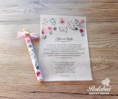 rózsaszín kémcsöves esküvői meghívó