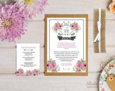 rózsaszín virágos vintage esküvői meghívó