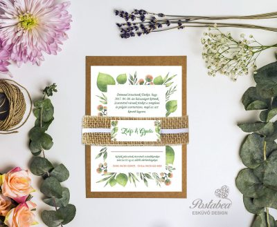zöld leveles esküvői meghívó