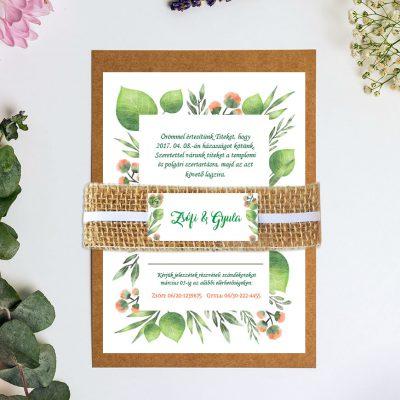 zöld vintage esküvői meghívó