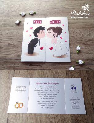 csókolózós pár esküvői meghívó