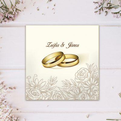 esküvői meghívó gyűrű mintával