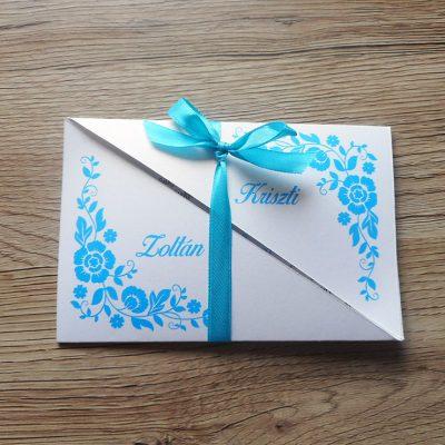 kék elegáns esküvői meghívó