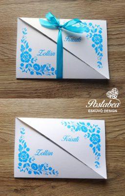 kék virágos félbevágott meghívó