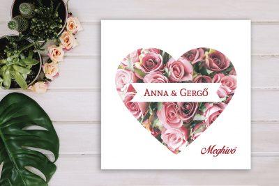 rózsás szíves esküvői meghívó