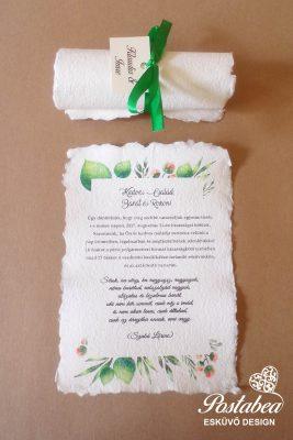 Greenery tekercses esküvői meghívó