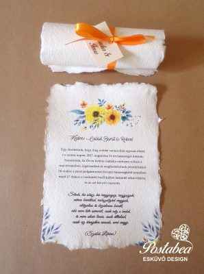 narancs színű tekercses esküvői meghívó