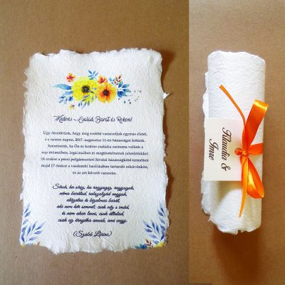 narancs virágos tekercses esküvői meghívó bélyegkép