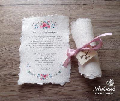 rózsaszín virágos tekercses esküvői meghívó