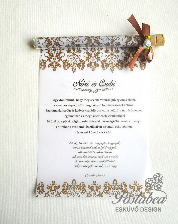 6b709f8256 Barokk mintás kémcsöves esküvői meghívó | Postabea esküvői meghívó